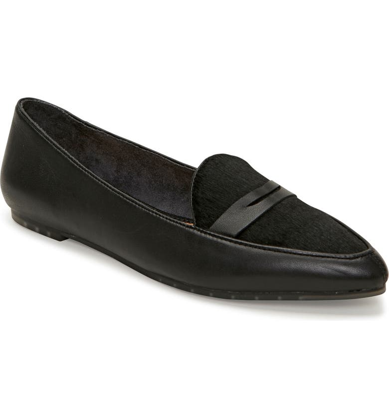 ME TOO Addie Genuine Calf Hair Pointed Toe Loafer, Main, color, BLACK LEATHER/ CALF HAIR