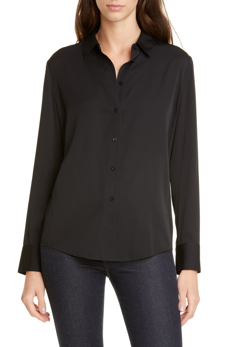 NORDSTROM SIGNATURE Stretch Silk Button-Up Shirt, Main, color, BLACK