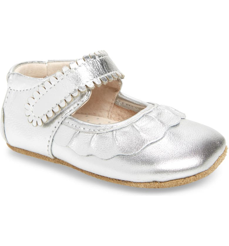 LIVIE & LUCA 'Ruche' Mary Jane Crib Shoe, Main, color, SILVER METALLIC