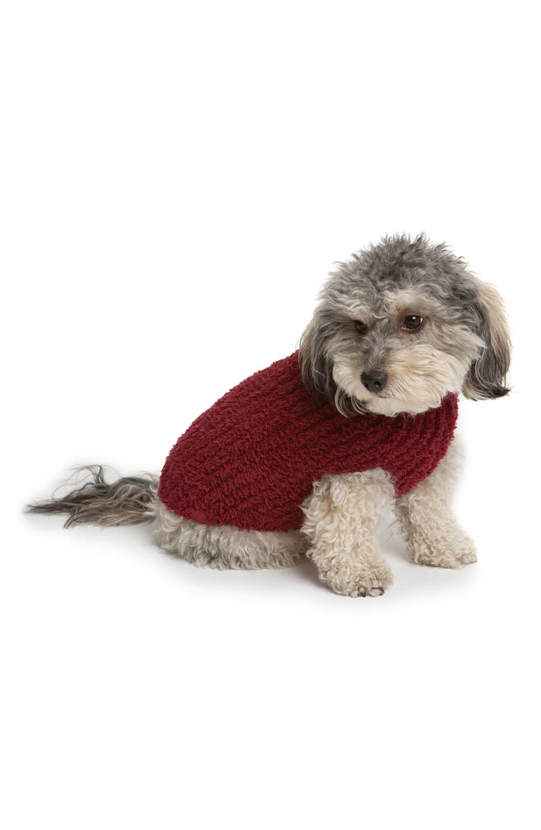 BAREFOOT DREAMS<SUP>®</SUP> CozyChic<sup>™</sup> Ribbed Dog Sweater, Main, color, CRANBERRY