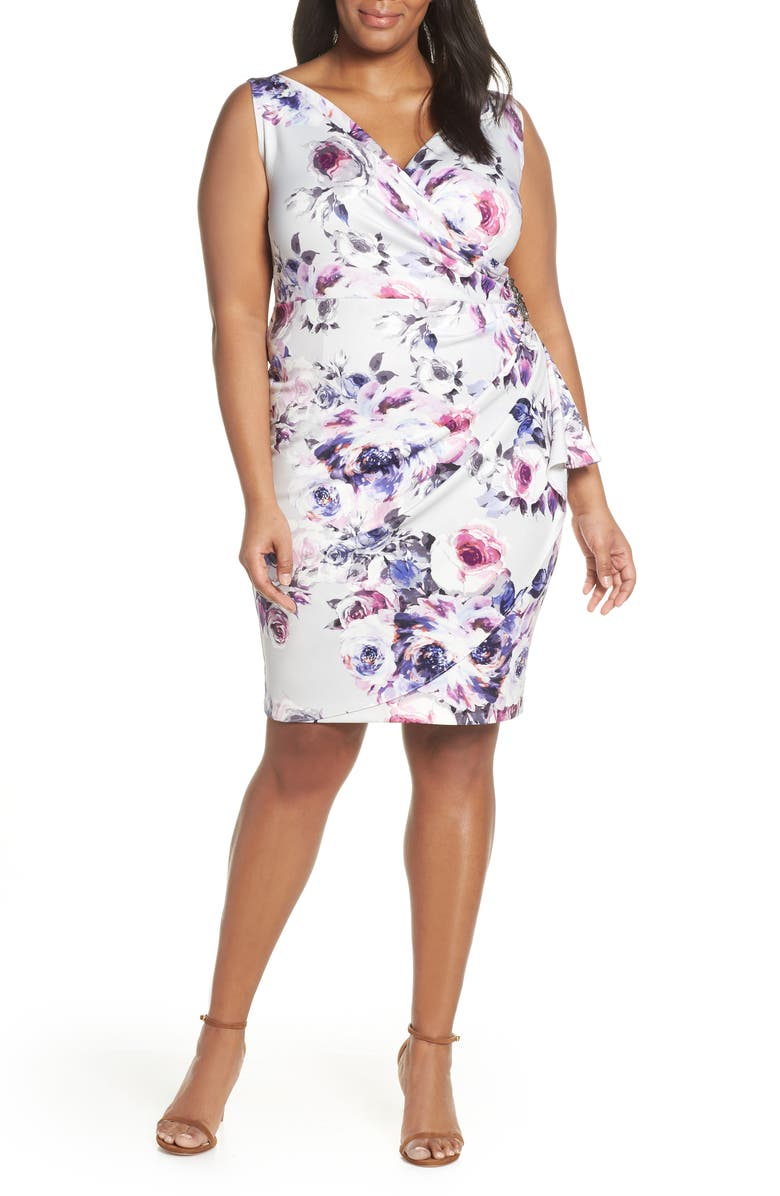 ALEX EVENINGS Side Ruched Cocktail Dress, Main, color, 900