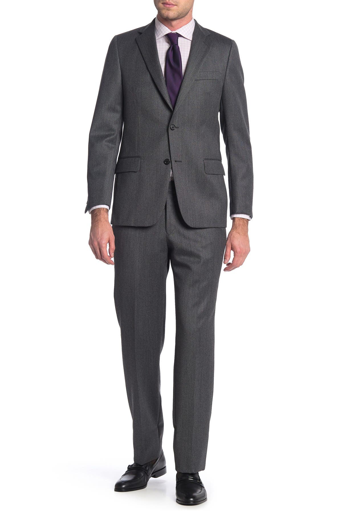 Image of Hickey Freeman Grey Solid Two Button Notch Lapel Wool Classic Fit Suit