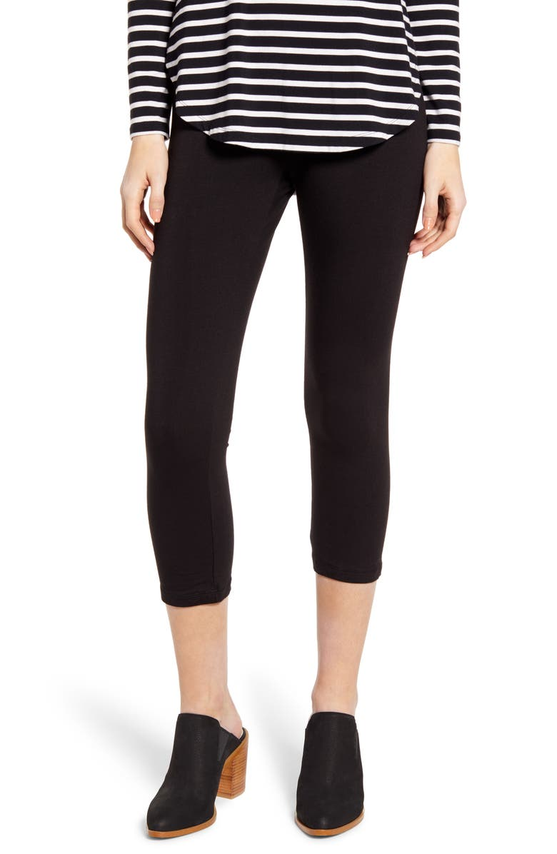 HUE Ultra Wide Waistband Capri Leggings, Main, color, BLACK