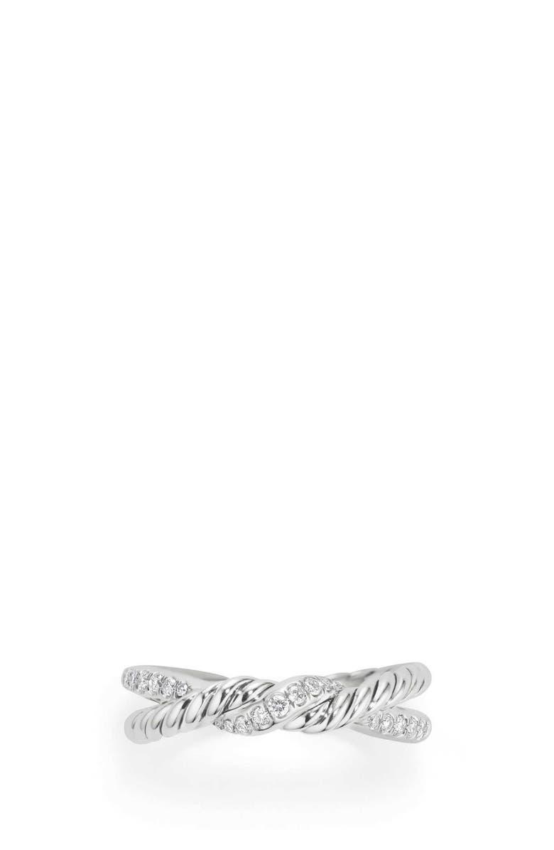 DAVID YURMAN Continuance Twist Ring with Diamonds, Main, color, SILVER/ DIAMOND