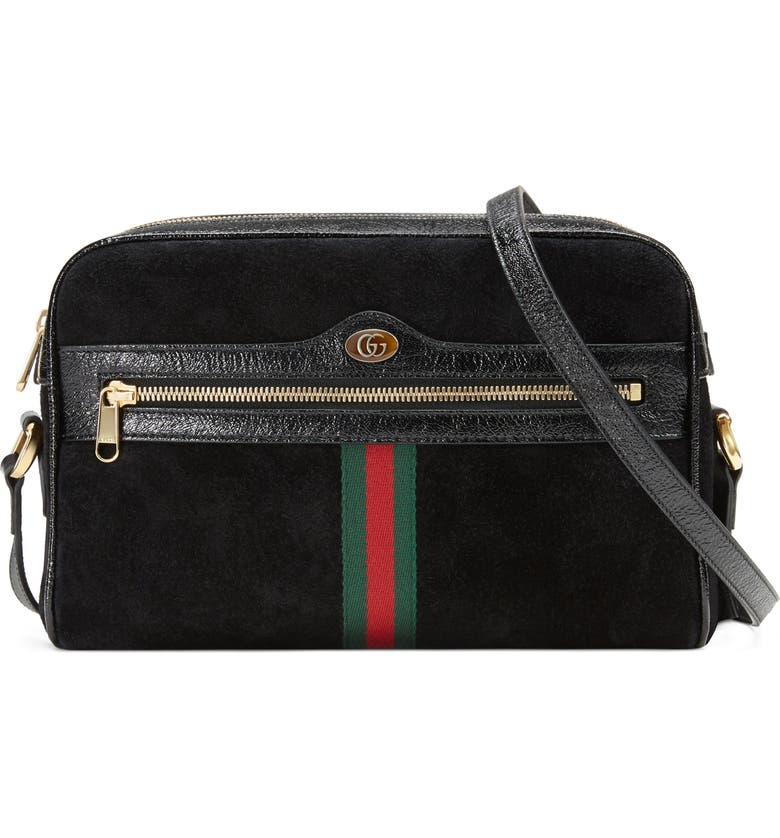 GUCCI Ophidia Small Suede Crossbody Bag, Main, color, 001