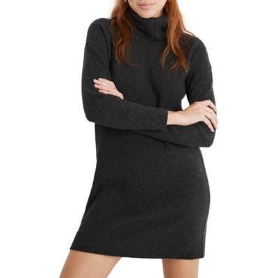 Madewell Foldover Turtleneck Long Sleeve Sweater Dress, Grey