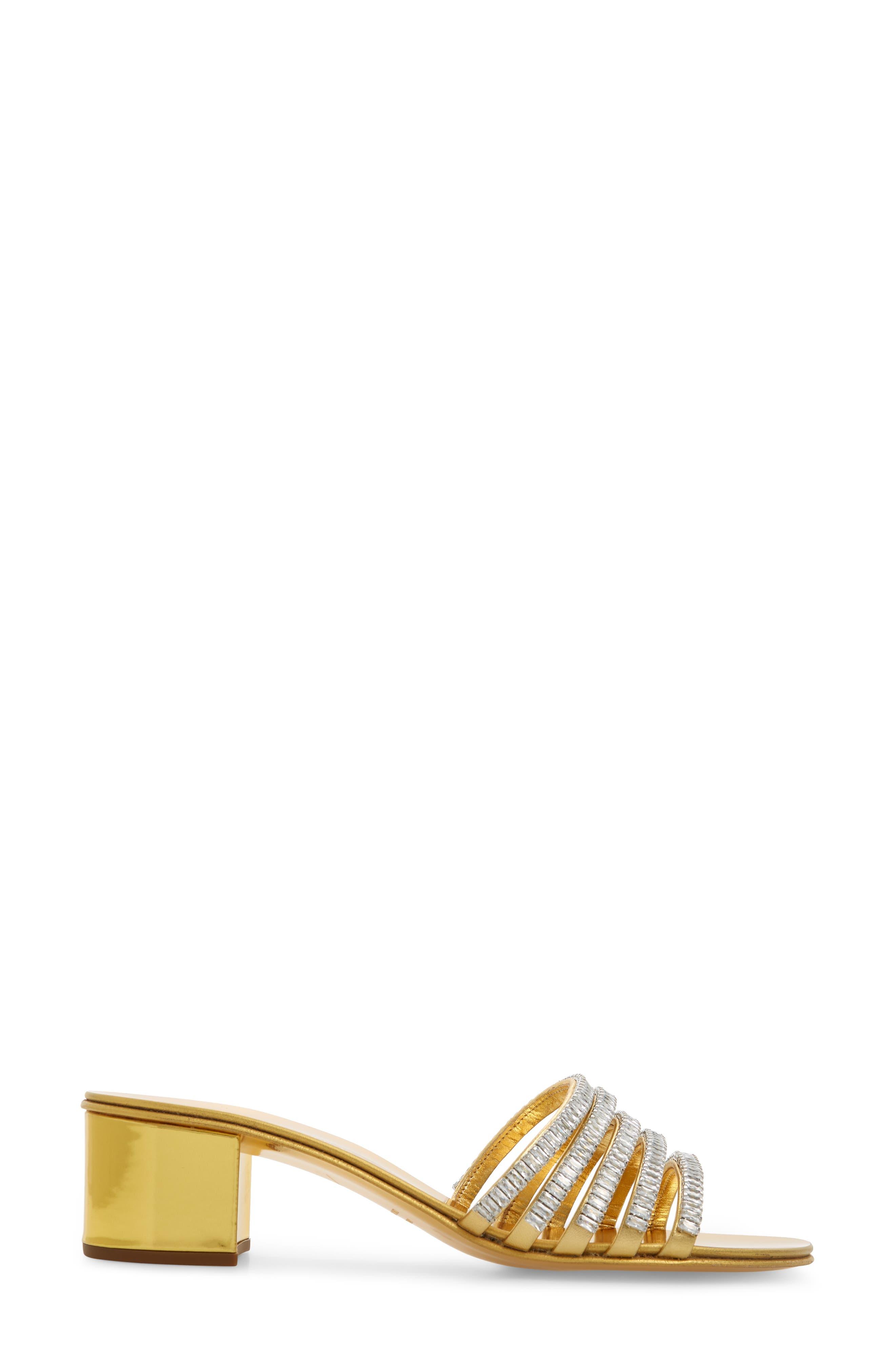,                             Crystal Embellished Slide Sandal,                             Alternate thumbnail 3, color,                             GOLD
