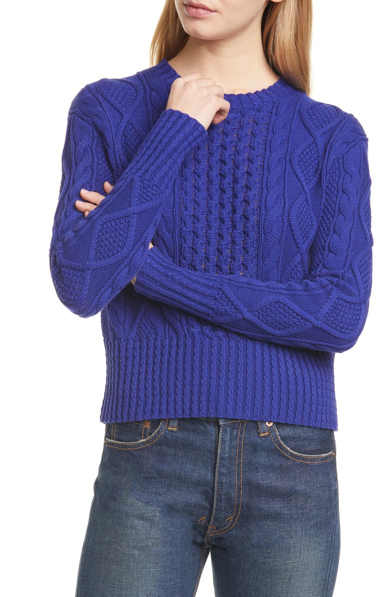 POLO RALPH LAUREN Cotton Cable Sweater, Main, color, FALL ROYAL
