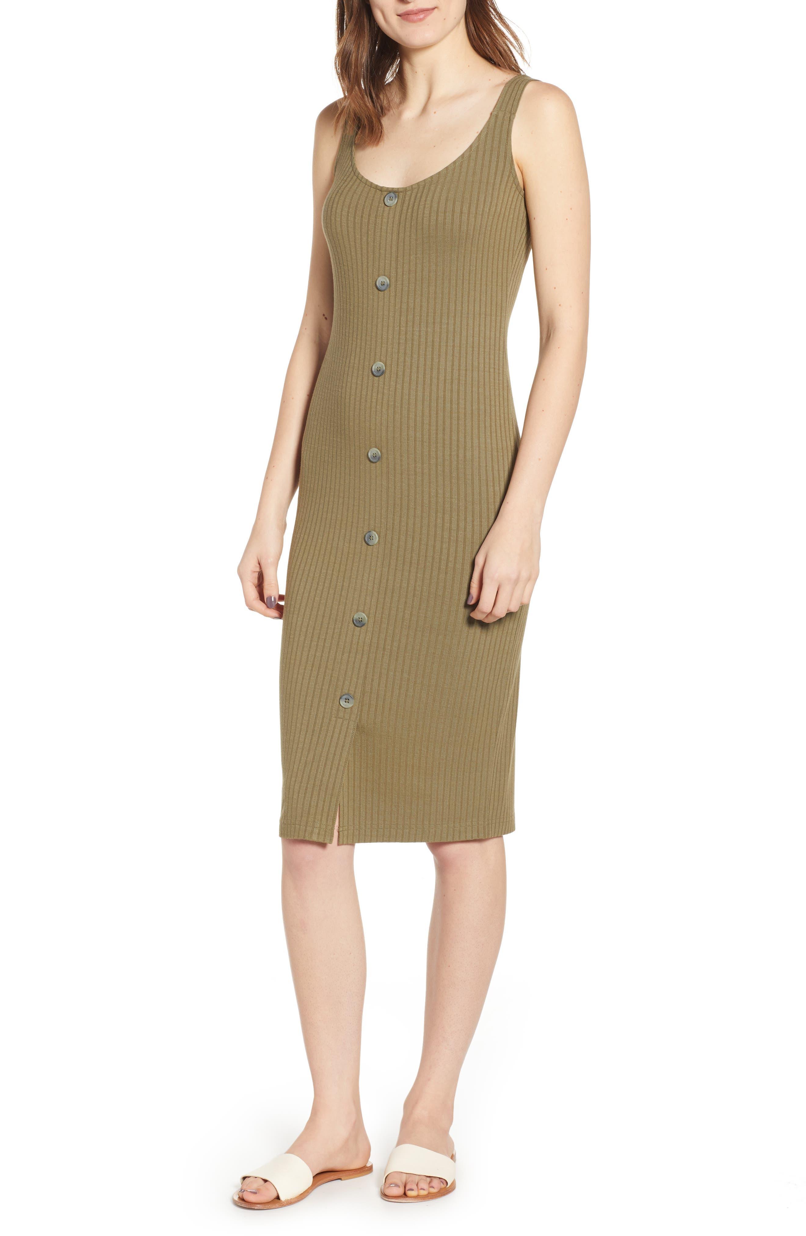Plus Size Bp. Button Front Midi Dress, Green