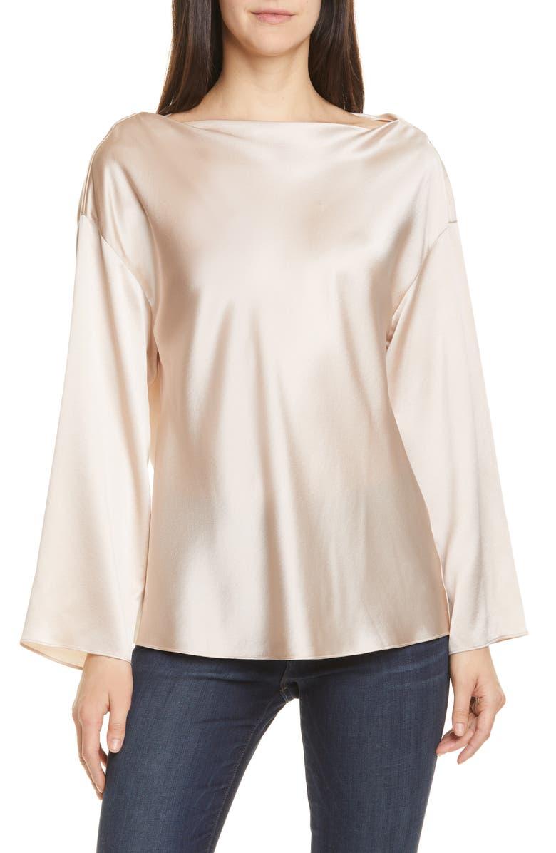 VINCE Side Drape Long Sleeve Silk Blouse, Main, color, MOCHI