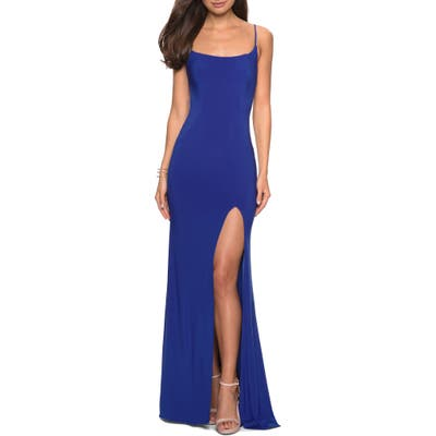 La Femme Strappy Back Jersey Evening Dress, Blue