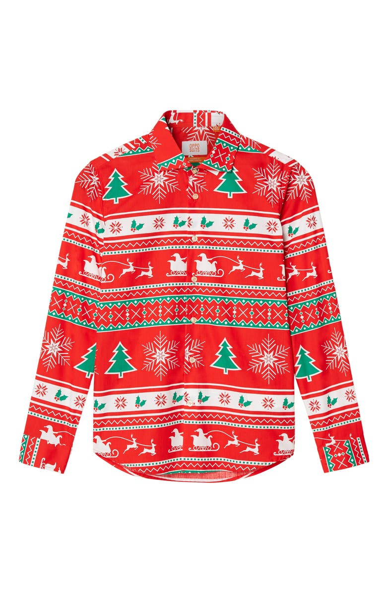 OPPOSUITS Winter Wonderland Button-Up Shirt, Main, color, RED