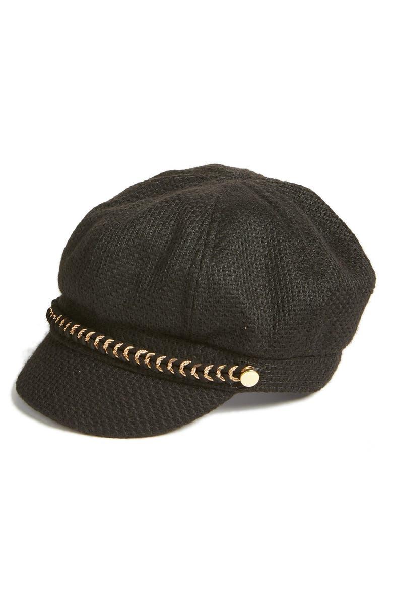 AUGUST HAT Bouclé Newsboy Cap, Main, color, 001