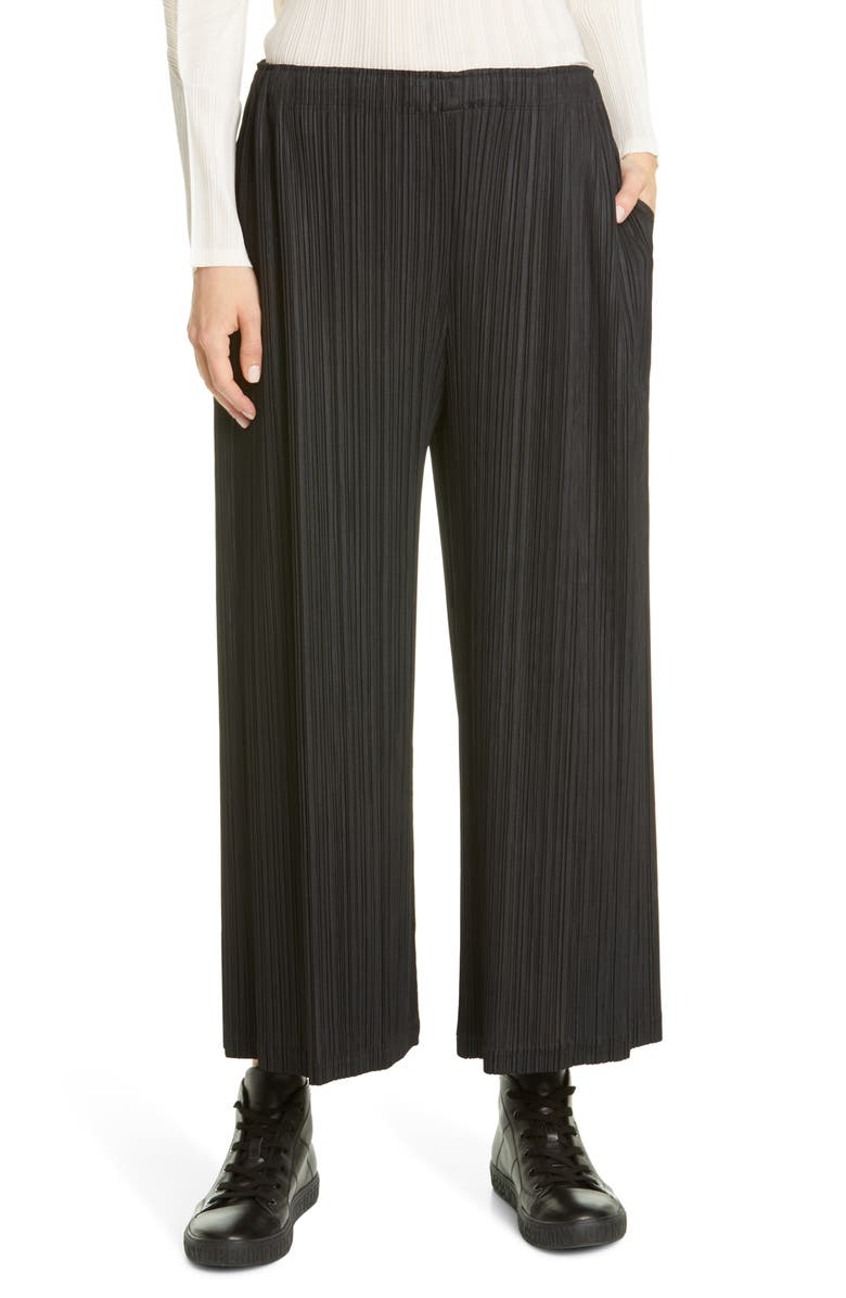 PLEATS PLEASE ISSEY MIYAKE Pleated High Waist Crop Pants, Main, color, 15 BLACK
