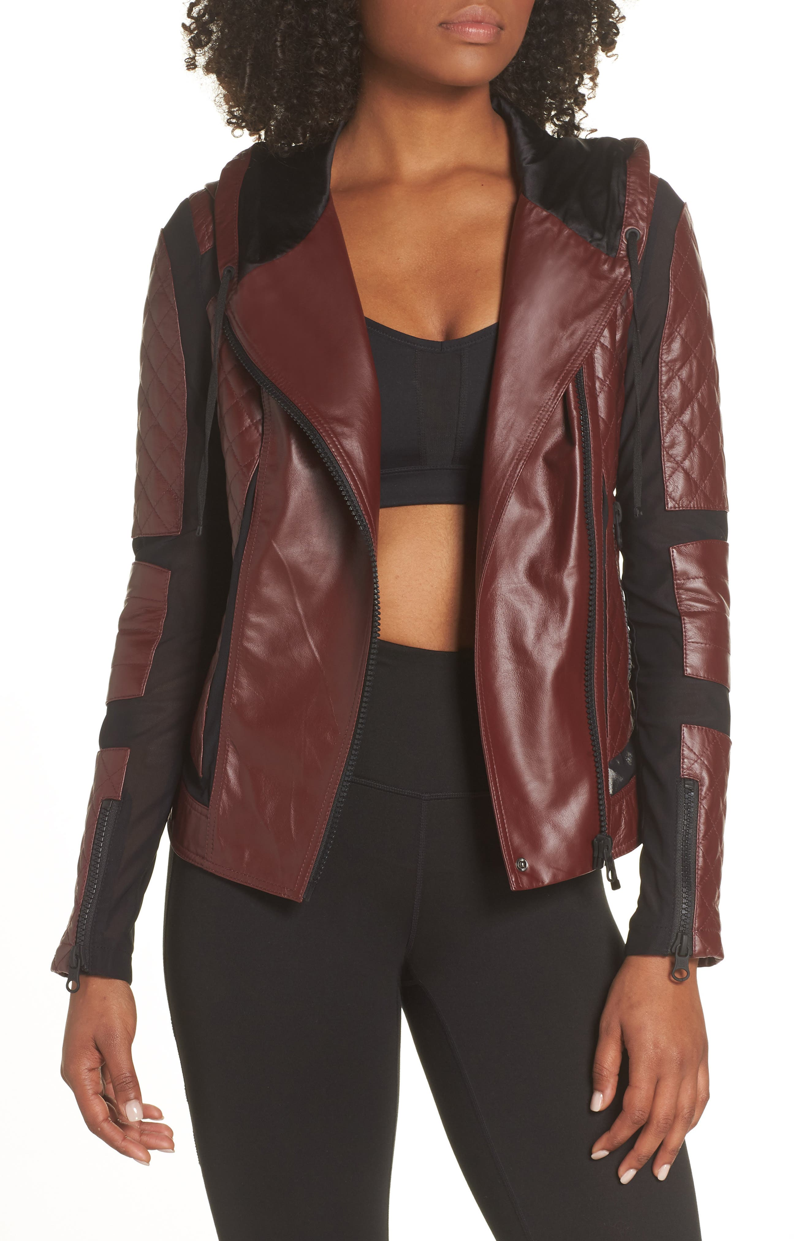 ,                             Voyage Hooded Leather & Mesh Moto Jacket,                             Main thumbnail 1, color,                             601
