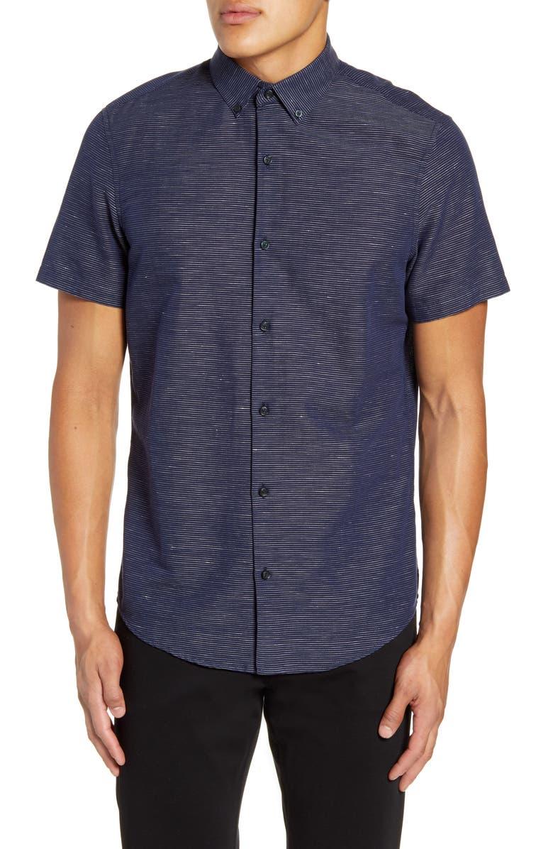 CALIBRATE Slim Fit Stripe Short Sleeve Button-Down Sport Shirt, Main, color, 410