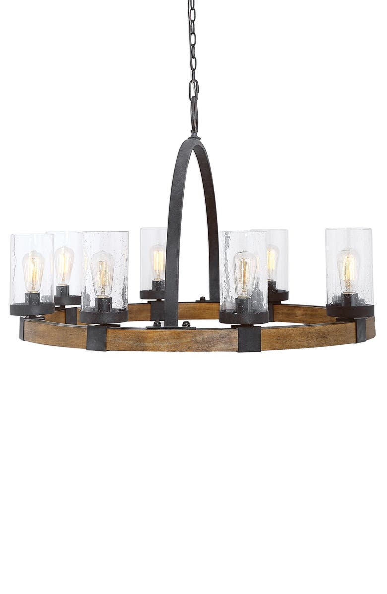 UTTERMOST Atwood 8-Light Wagon Wheel Chandelier, Main, color, WOOD WITH BLACK IRON