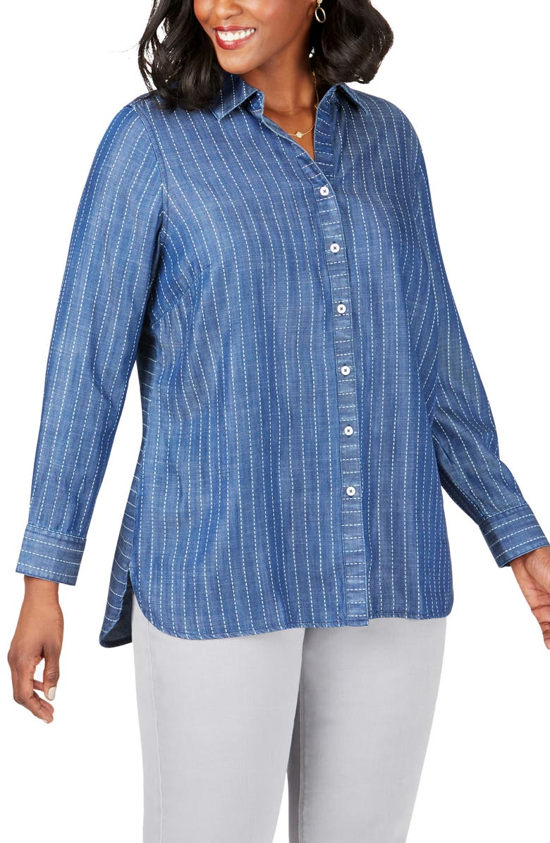 FOXCROFT Brycen in Stitch Stripe Tencel<sup>®</sup> Lyocell Shirt, Main, color, NAVY