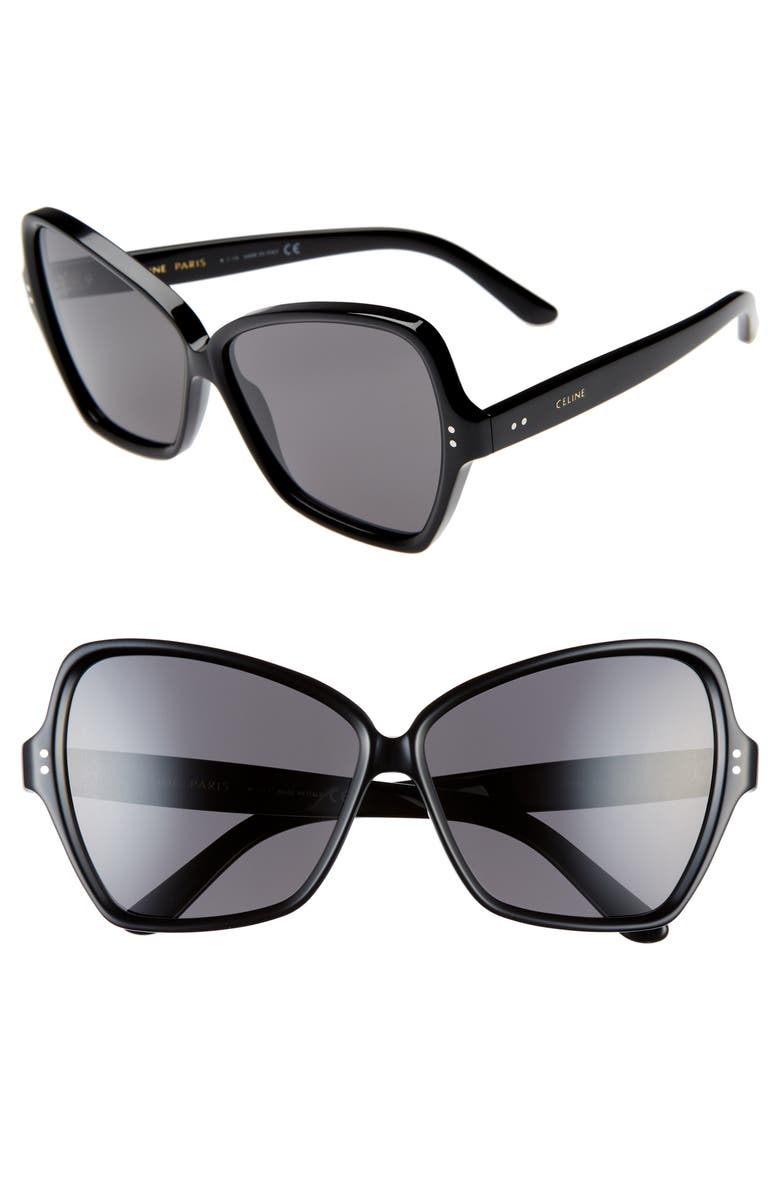 CELINE 64mm Oversize Butterfly Sunglasses, Main, color, BLACK/ SMOKE