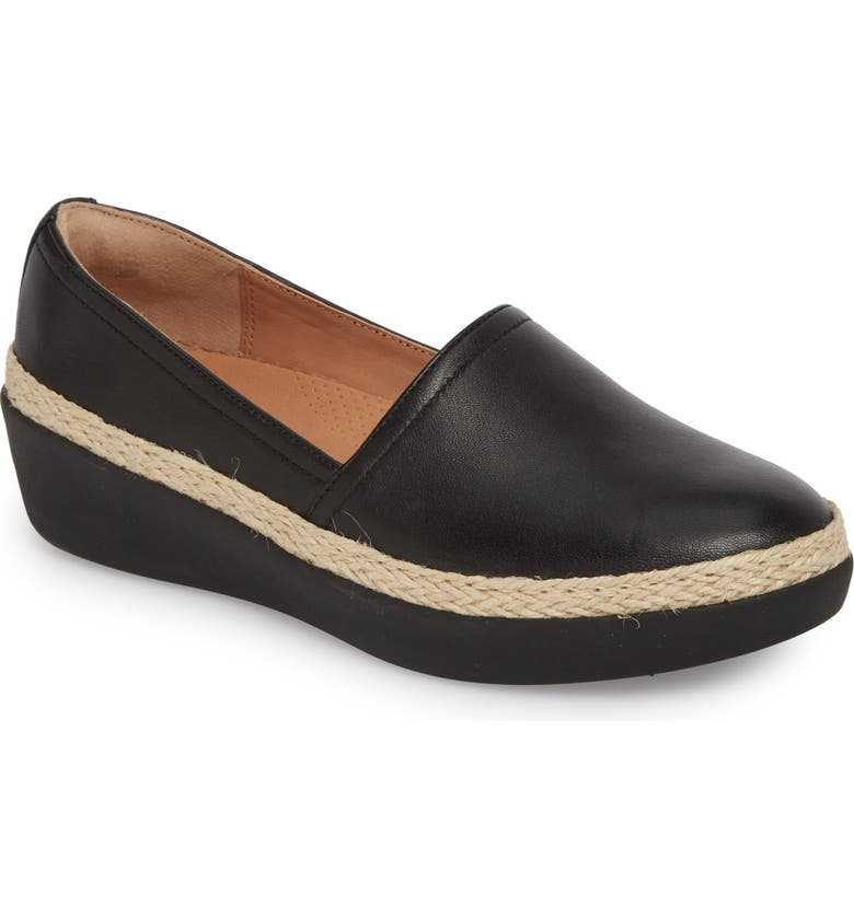 FITFLOP Casa Loafer, Main, color, BLACK LEATHER