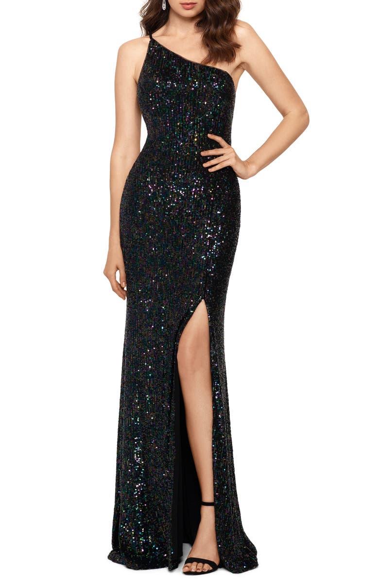 XSCAPE One Shoulder Sequin Evening Dress, Main, color, BLACK/ MULTI