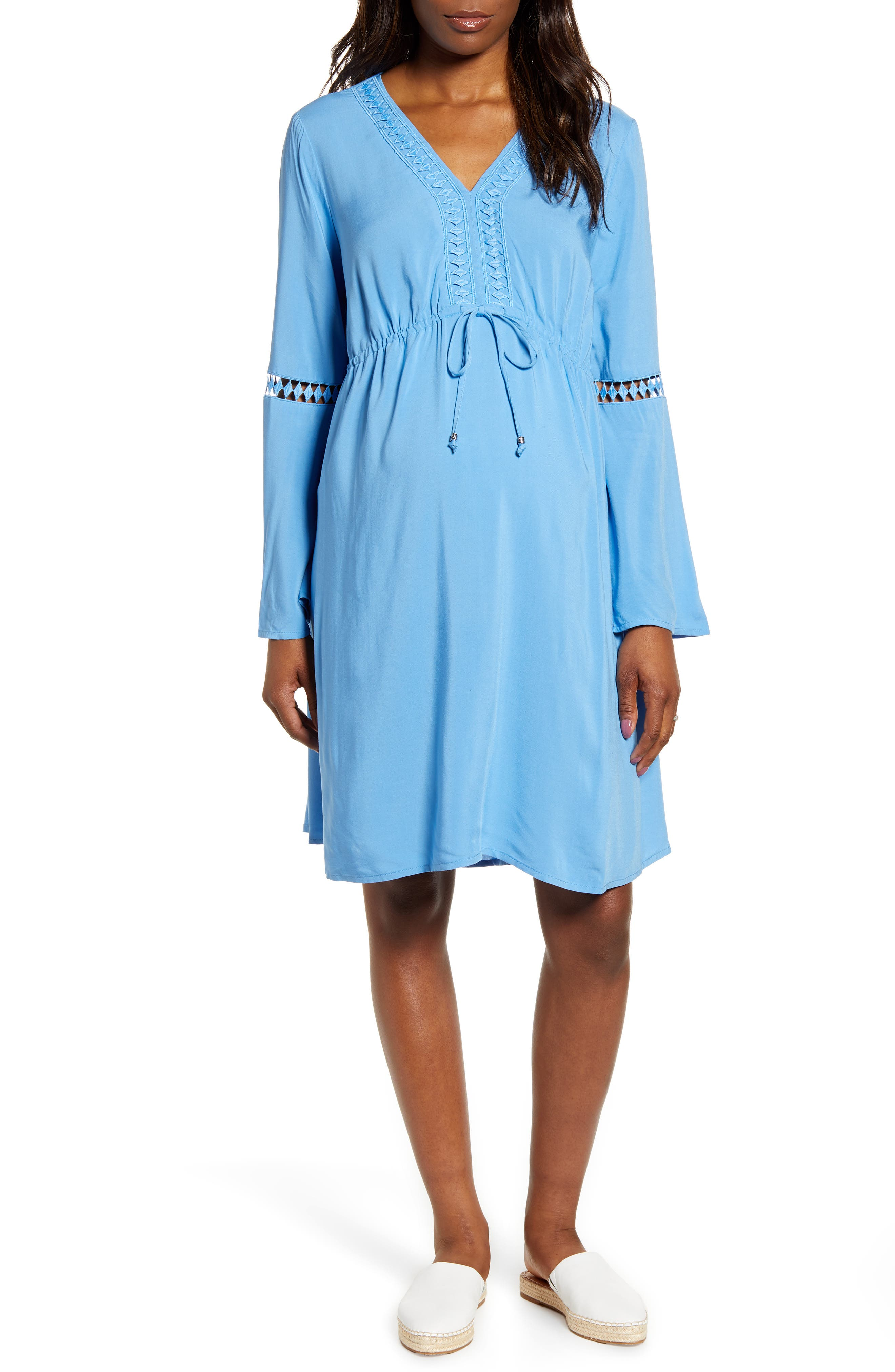 Fourteenth Place Bell Sleeve Maternity Peasant Dress, Blue