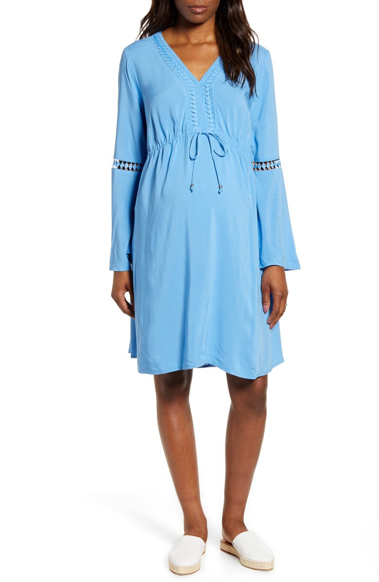 FOURTEENTH PLACE Bell Sleeve Maternity Peasant Dress, Main, color, BLUE DAWN