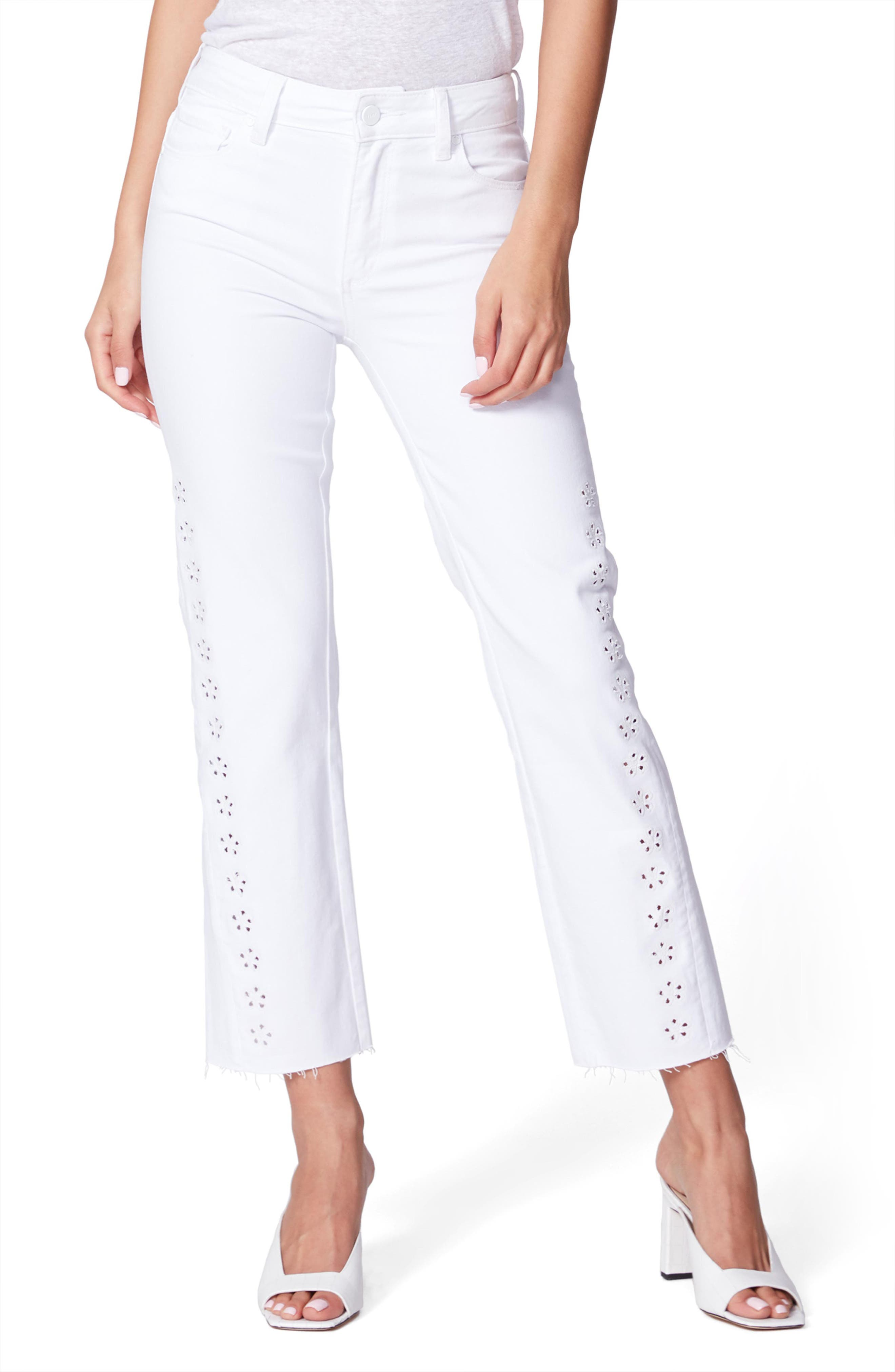 Image of PAIGE Cindy Laser Cut Daisy Raw Hem Jeans