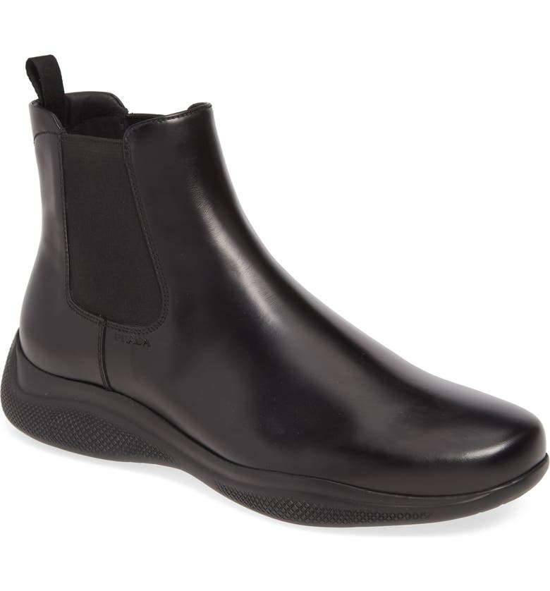 PRADA 'New Toblak' Chelsea Boot, Main, color, NERO