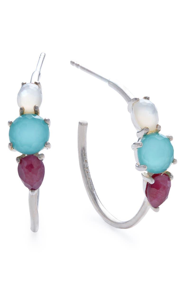 IPPOLITA Rock Candy Prong Set 3-Stone Hoop Earrings, Main, color, RAINBOW