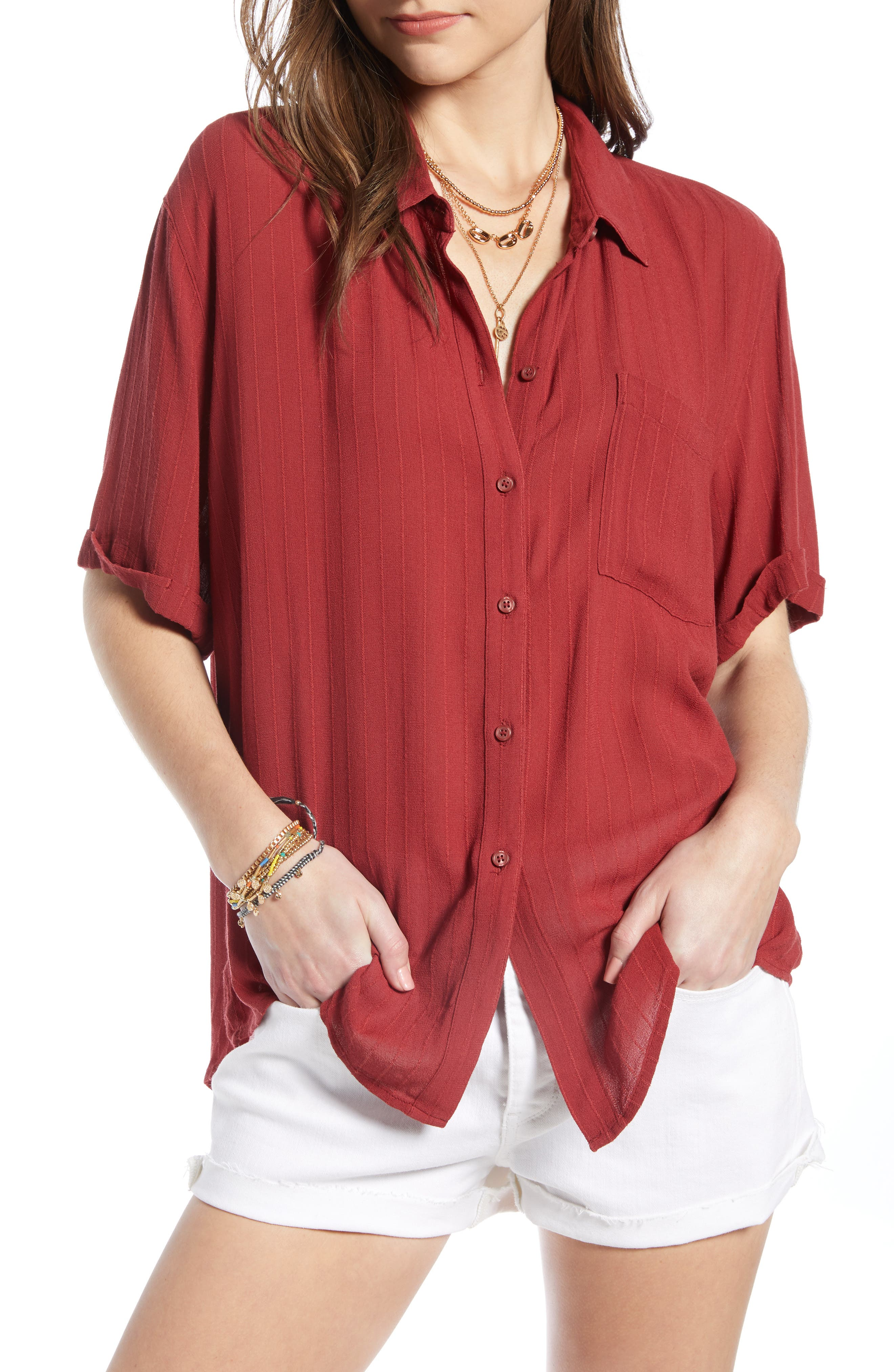 Relaxed Stripe Blouse, Main, color, RED RUSSET