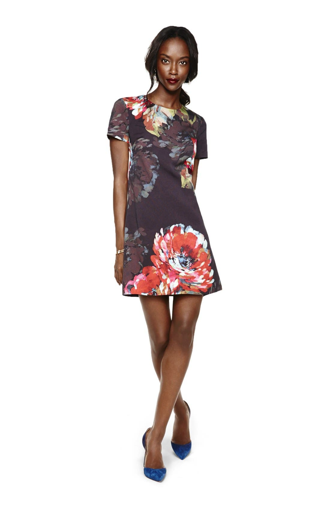 ,                             'Natasha' Flower Print Faille A-Line Dress,                             Alternate thumbnail 5, color,                             001