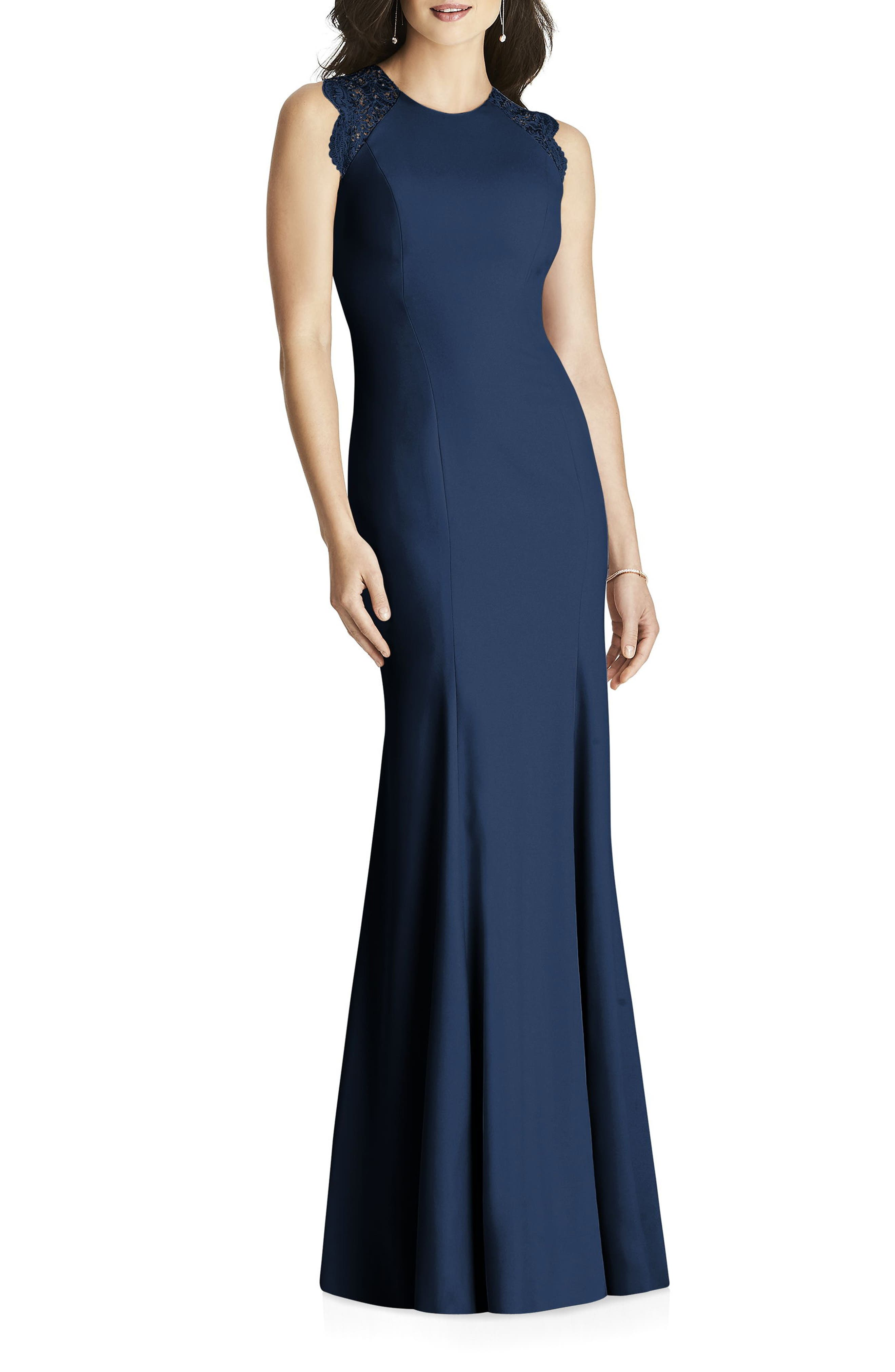 Dessy Collection Lace Back Crepe Gown, Blue