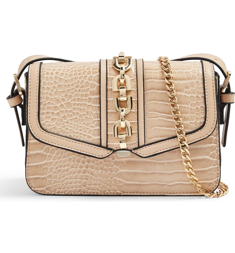 TOPSHOP Casey Chain Detail Croc Embossed Crossbody Bag, Main, color, 250