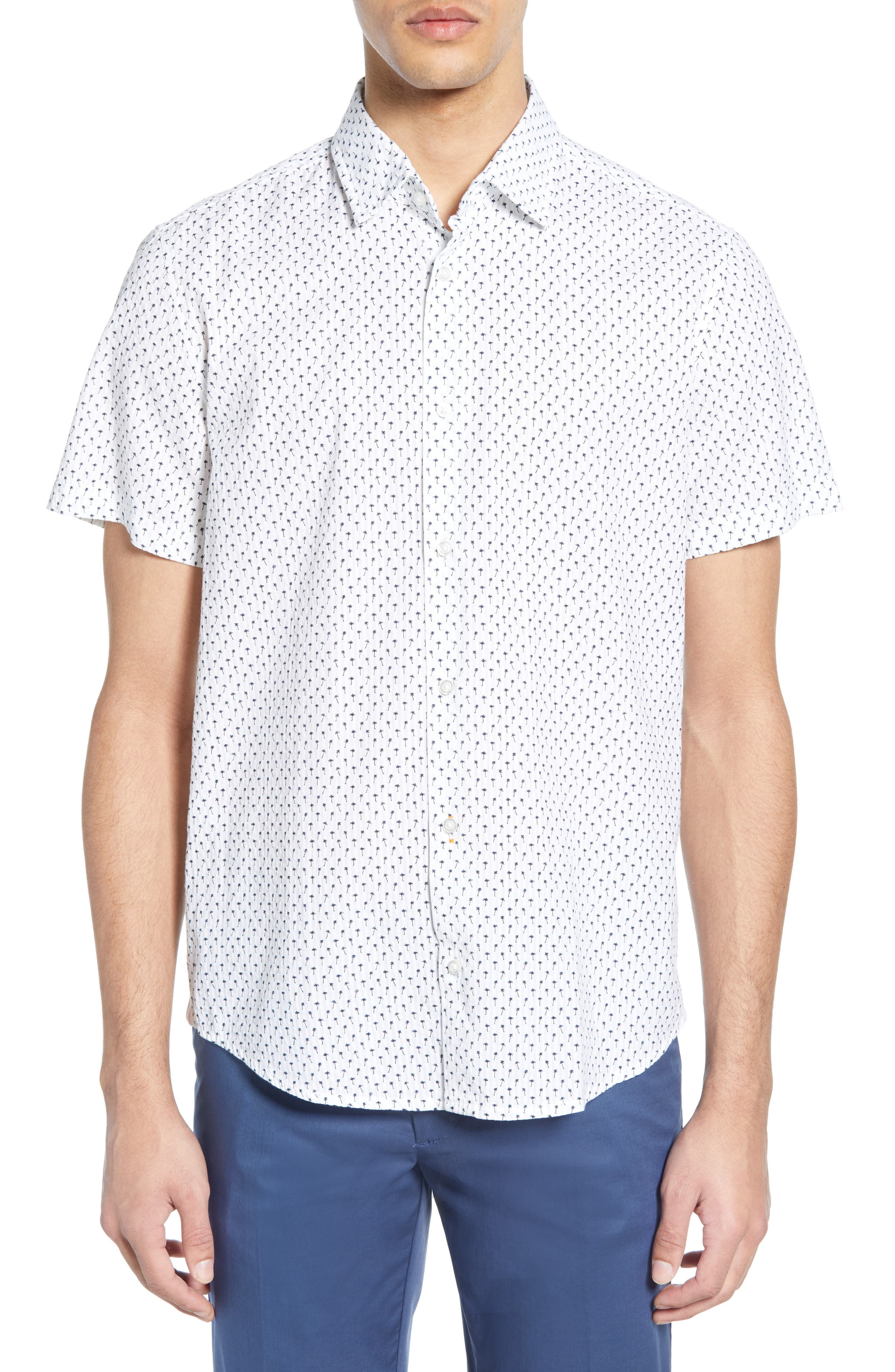 ,                             Rash Regular Fit Palm Print Sport Shirt,                             Main thumbnail 1, color,                             WHITE