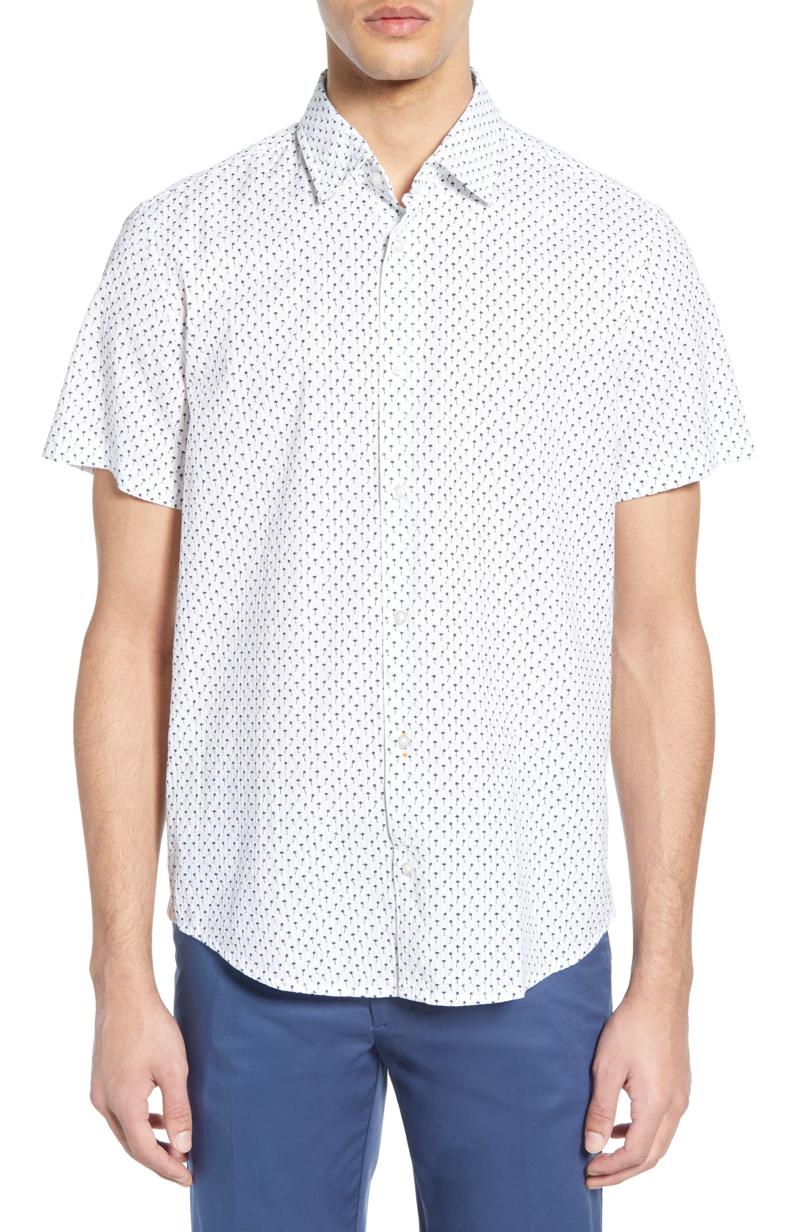 Rash Regular Fit Palm Print Sport Shirt, Main, color, WHITE