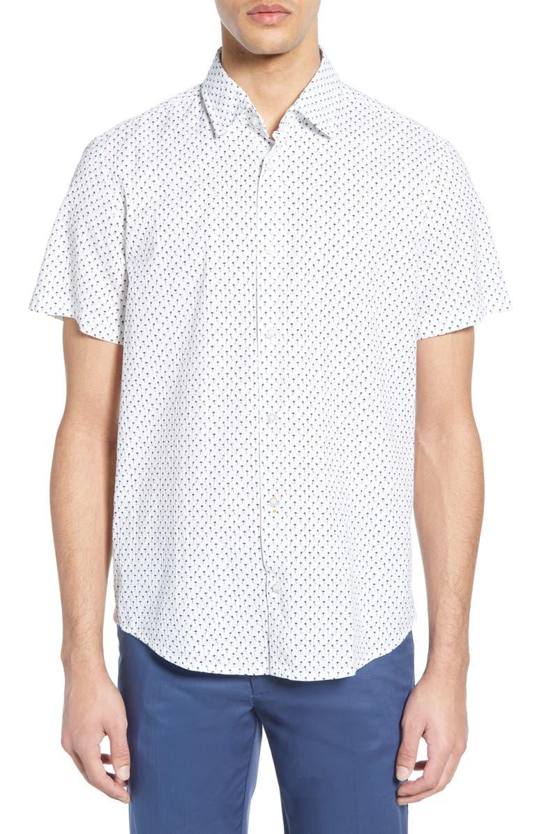 BOSS Rash Regular Fit Palm Print Shirt, Main, color, 102
