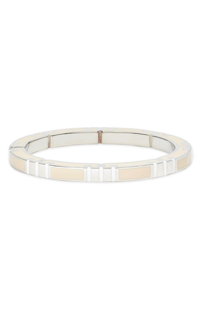 TORY BURCH T-Stripe Stackable Bangle, Main, color, TORY SILVER/ OPTIC WHITE