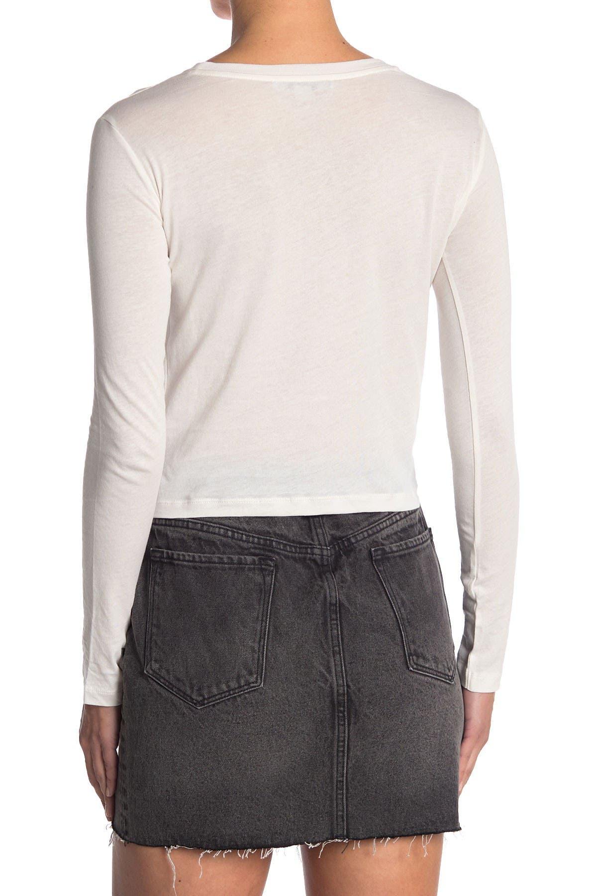 Image of ALLSAINTS Carme Long Sleeve Twist Crop T-Shirt