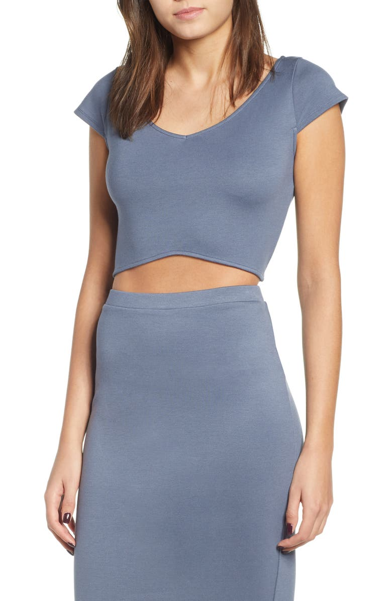 LEITH Curved Hem Crop Top, Main, color, 030