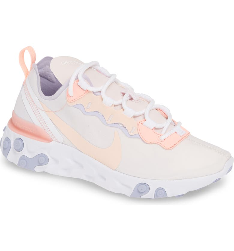 NIKE React Element 55 Sneaker, Main, color, PALE PINK/ CORAL/ PURPLE