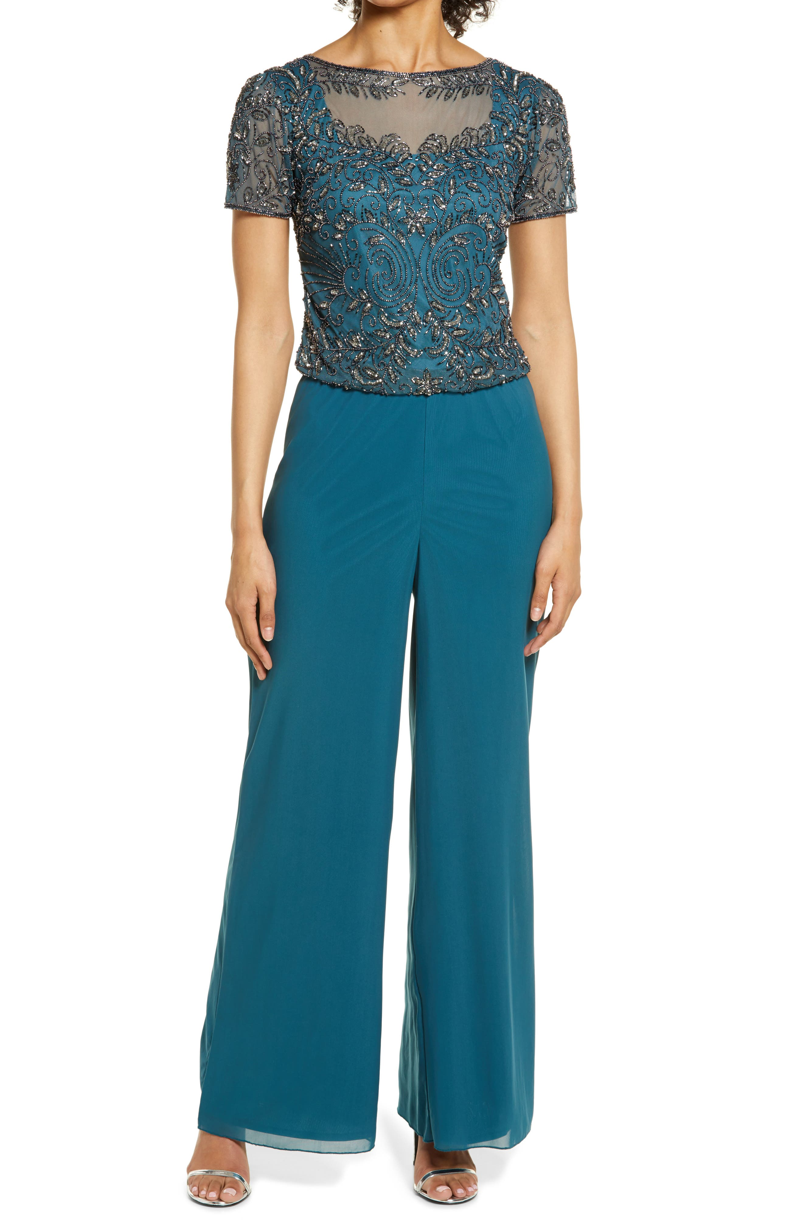 Vintage Overalls & Jumpsuits Womens Pisarro Nights Beaded Mock Two-Piece Jumpsuit Size 14 - Green $238.00 AT vintagedancer.com