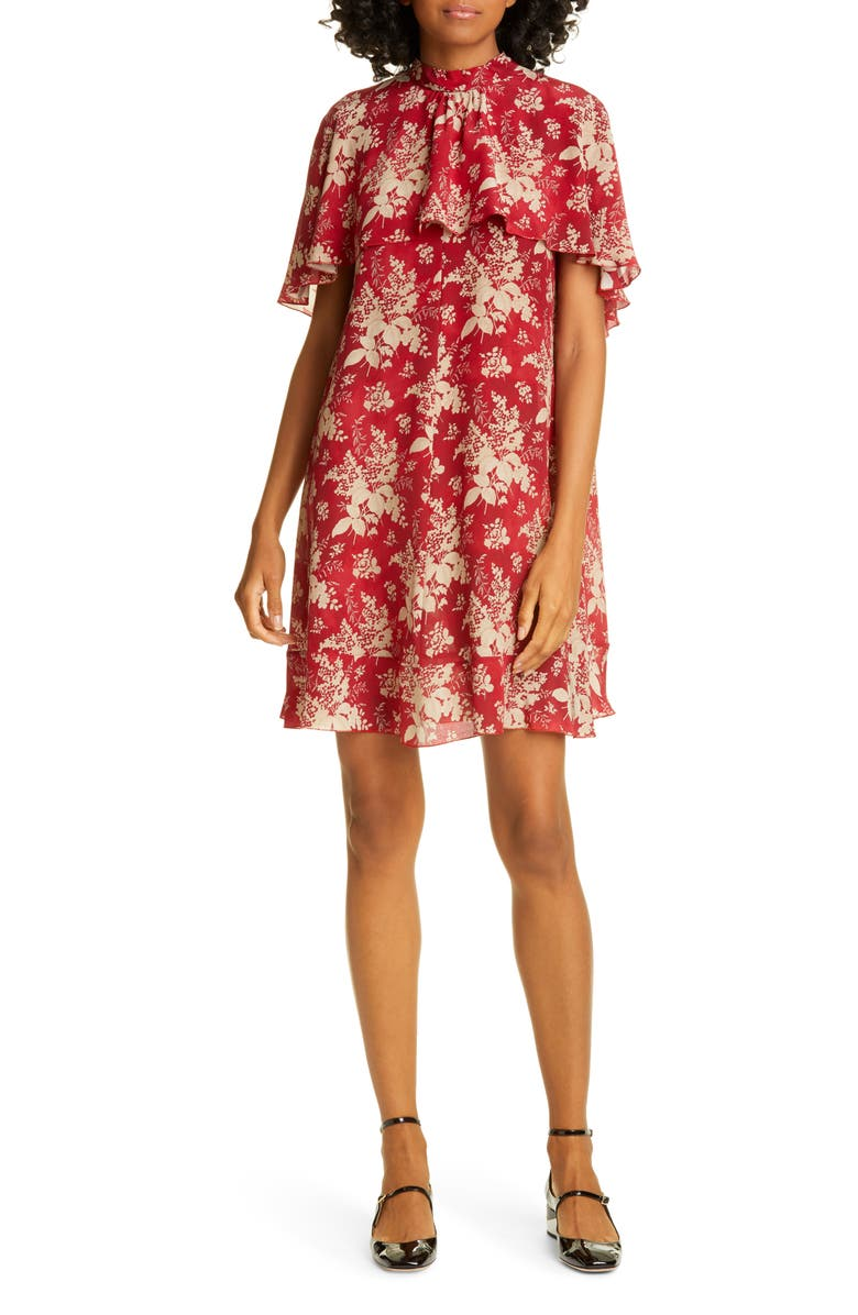 RED VALENTINO Cape Detail Floral Silk Minidress, Main, color, RED