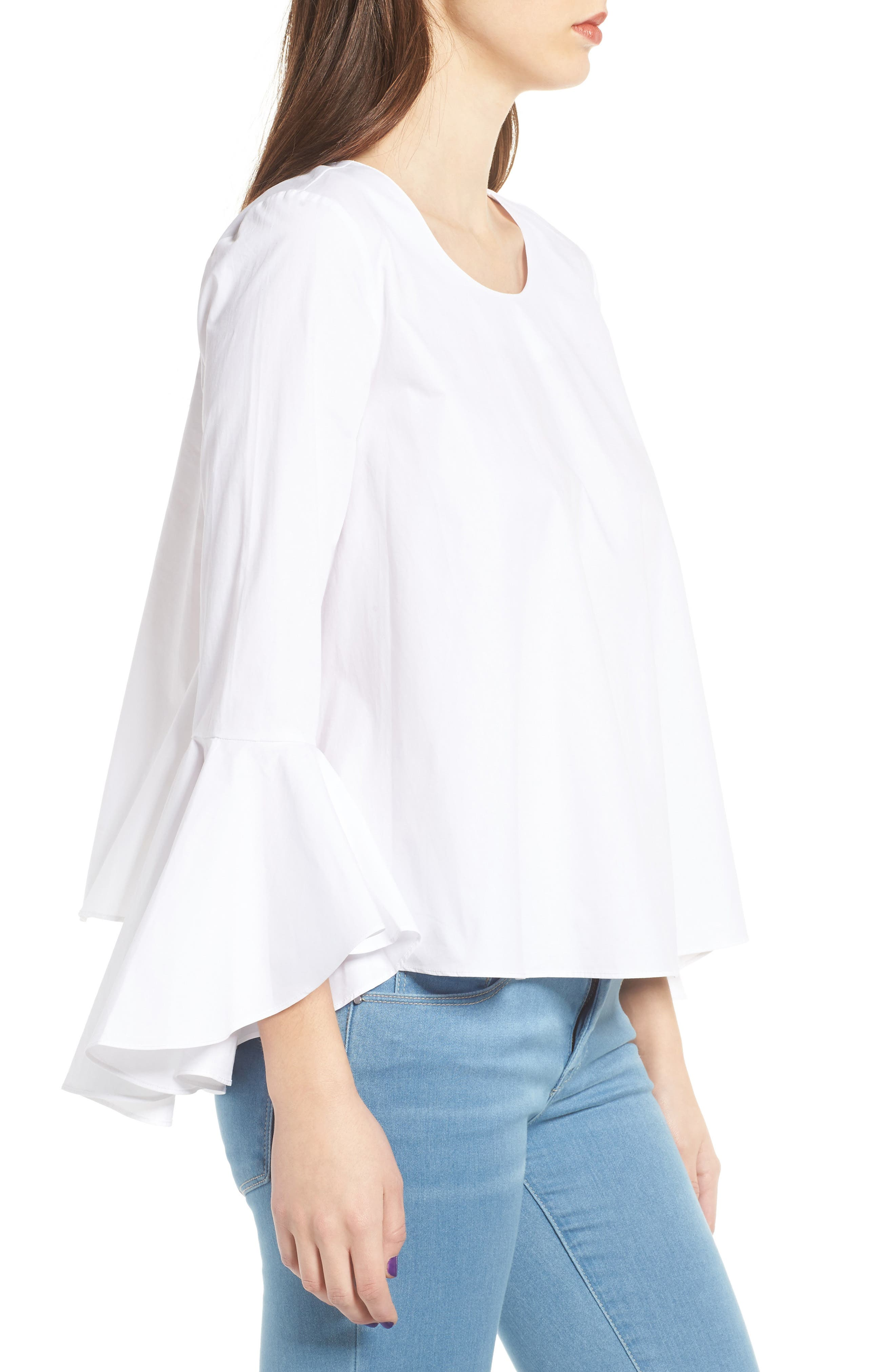 ,                             Bell Sleeve Top,                             Alternate thumbnail 3, color,                             100