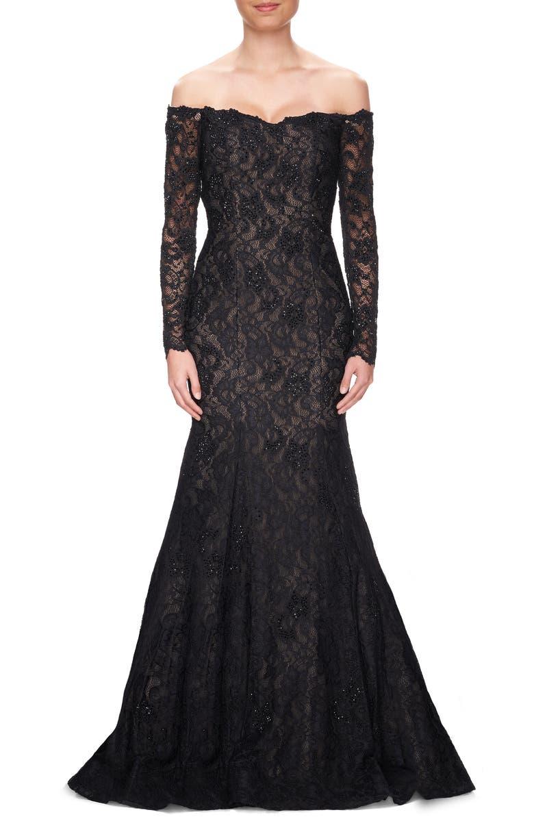 LA FEMME Off the Shoulder Long Sleeve Lace Gown, Main, color, 001