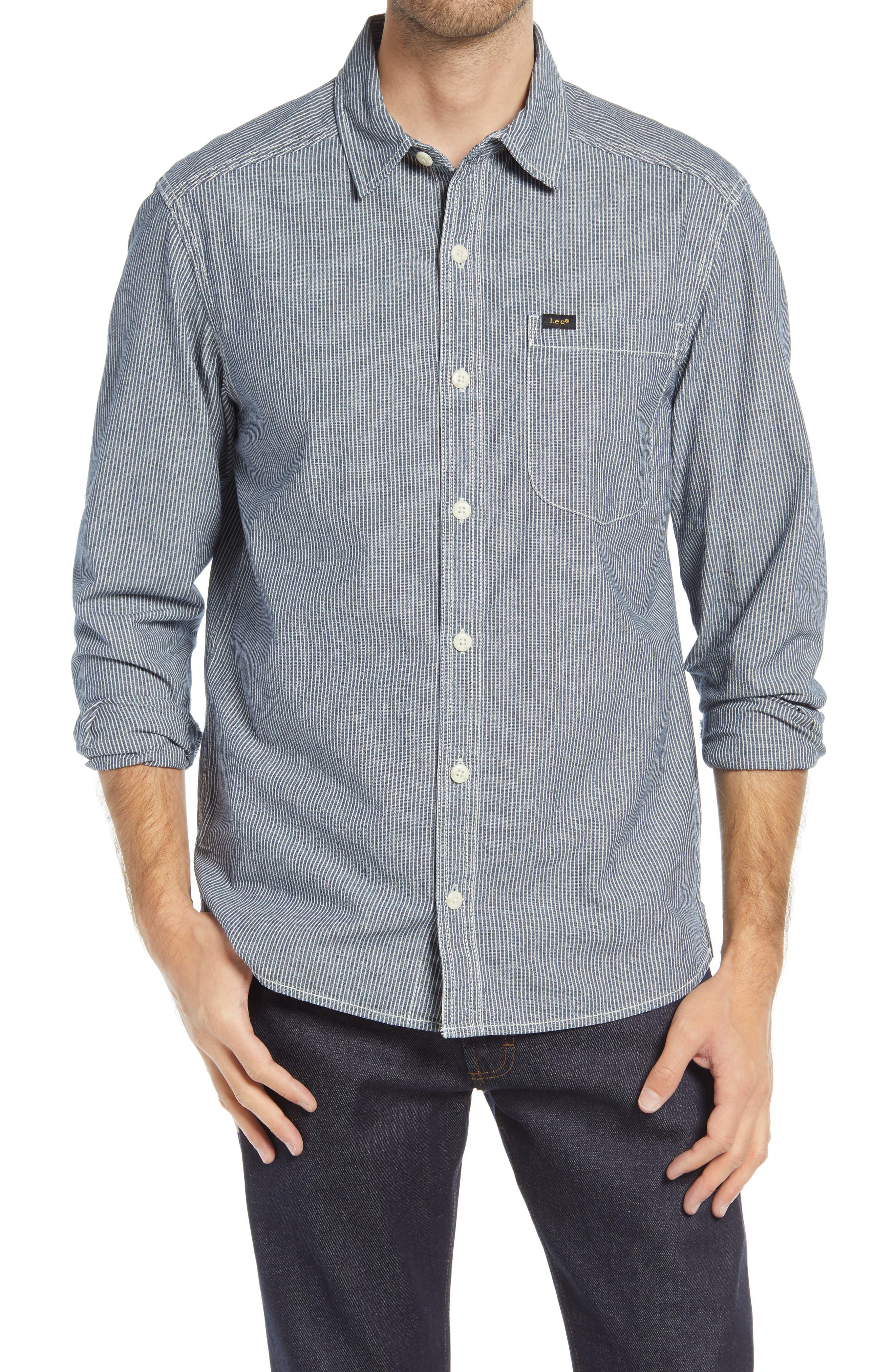 Engineer Stripe Button-Up Shirt