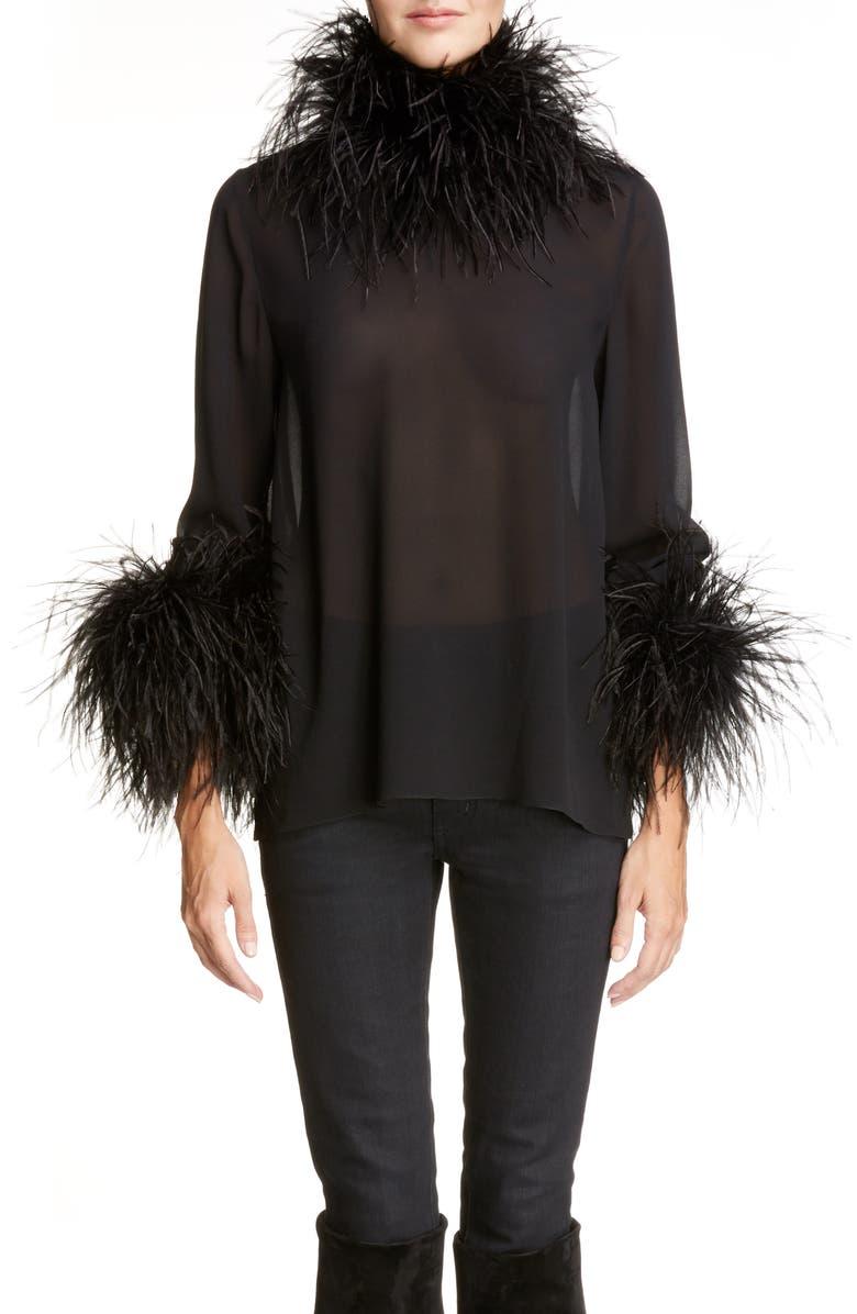 8f1aea4e666 Saint Laurent Ostrich Feather Trim Silk Top | Nordstrom