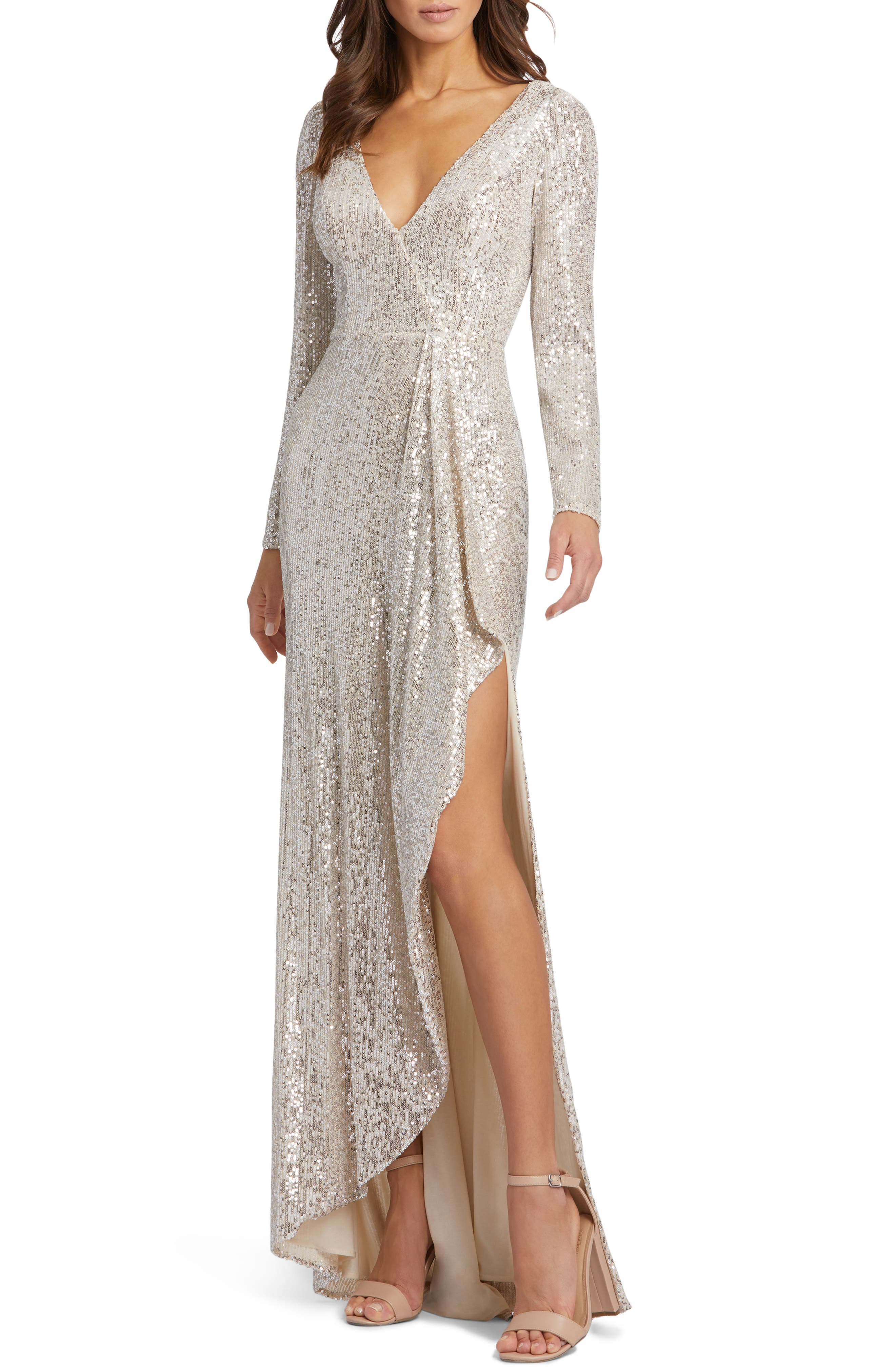 70s Prom, Formal, Evening, Party Dresses Ieena for Mac Duggal Long Sleeve Sequin Wrap Gown Size 16 in Silver at Nordstrom $398.00 AT vintagedancer.com