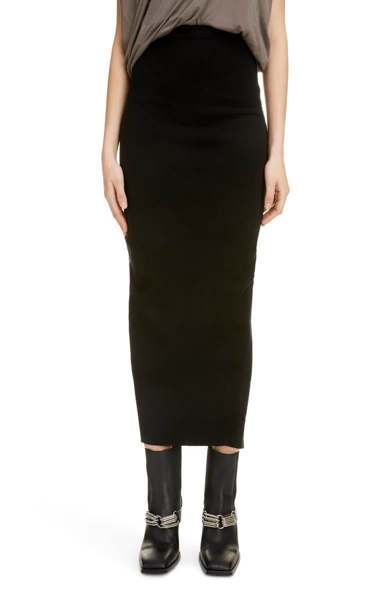 RICK OWENS Slit Back Tube Midi Skirt, Main, color, BLACK