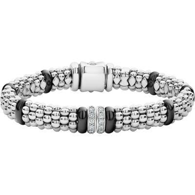 Lagos Black Caviar Diamond 2-Link Bracelet
